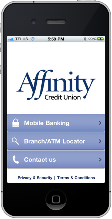 Affinity Mobile Home Screen