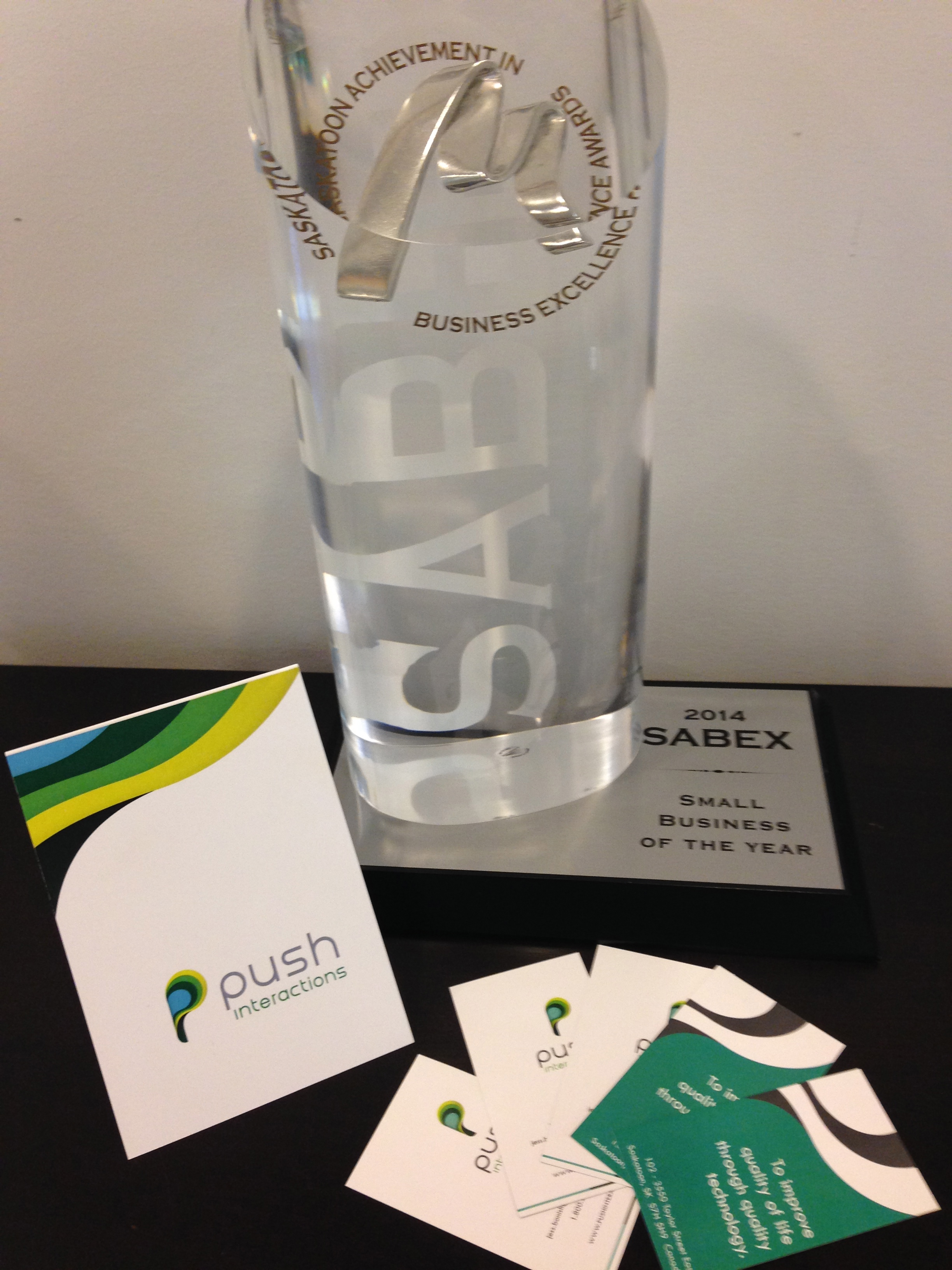 """New greeting cards and business cards beside the first award we ever won as """"Push"""" (SABEX Small Business of the Year)"""