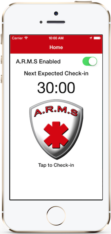 Safety App Review - ARMS Check In Screen