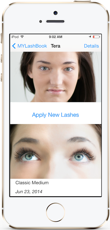 MYLashBook - Eyelash Technician App - Before and After photos of client