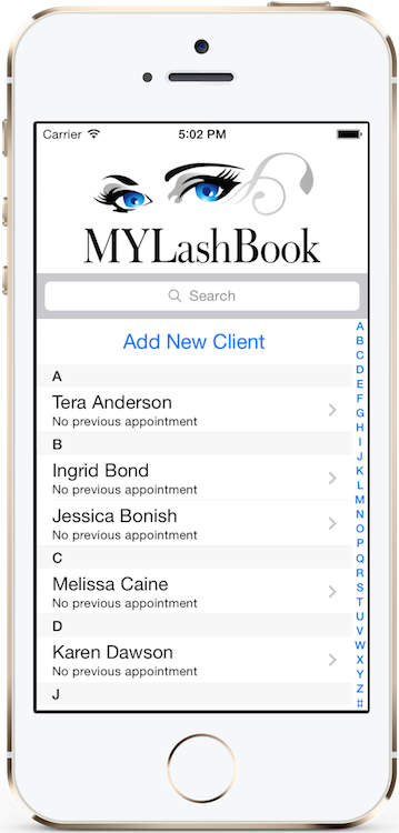 MYLashBook - Eyelash Technician App - Client Details App Screen
