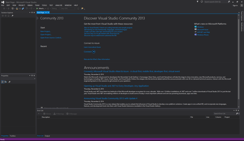 One IDE to Rule Them All - Visual Studio Community Welcome page
