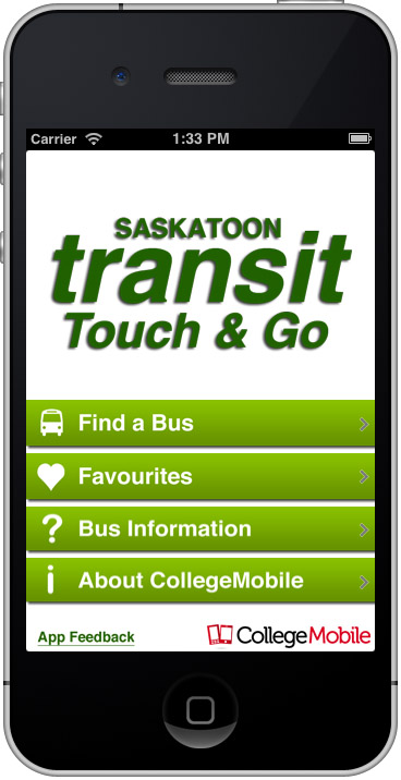 Saskatoon Transit Touch & Go Main Screen