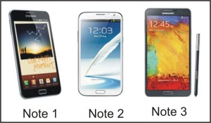 Samsung Galaxy Note 1, 2 and 3